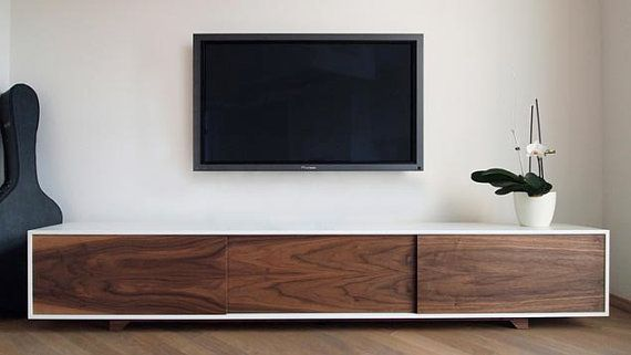 Walnut and White Lacquer Credenza