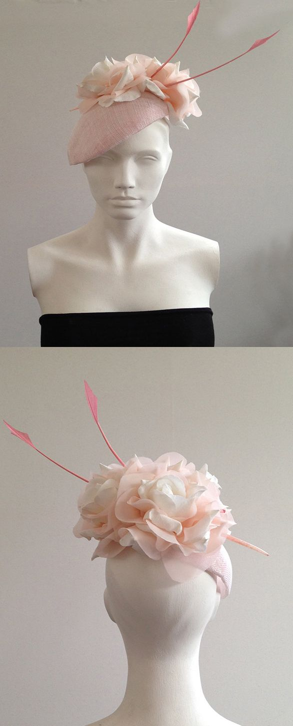 The perfect pastel pink for Kentucky Derby Oaks Day. Soft Floral Berey headpiece with arrow quills Oaks or Derby Day, Royal Ascot or any other day at the races. Pretty hat for a wedding guest outfit ideas. Handmade of Etsy. #kentuckyoaks #kentuckyderby #derbyhats #handmadeisbest #millinery #fascinators #designerhats #etsyfinds #royalascot #ascothats #affiliatelink #handmadeonetsy