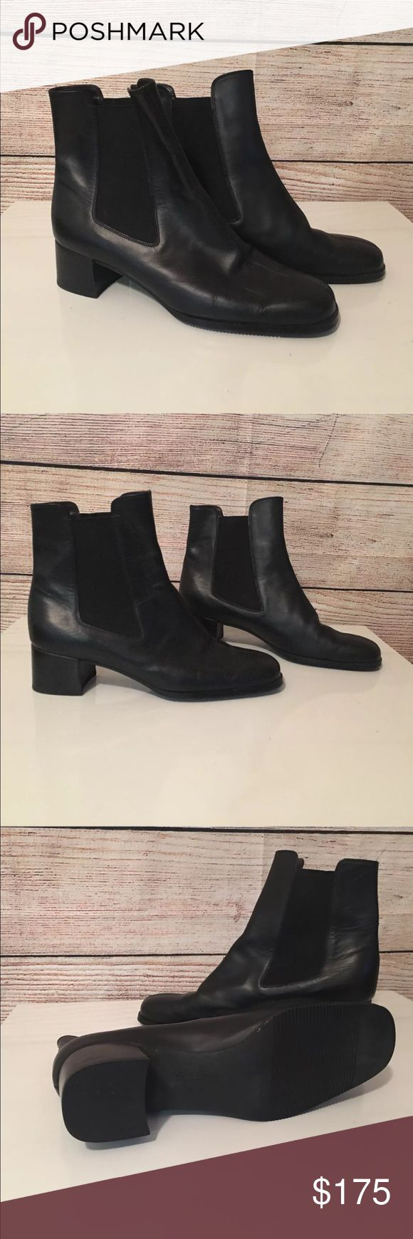 """Salvatore Ferragamo Black Chelsea Ankle Boots 9 M Salvatore Ferragamo Boutique Black Chelsea Ankle Boots Sz 9 M  These boots have not been worn outside the house - just tried on.  I said preowned just in case, but they are in excellent condition both inside and out.  Pull on style with elastic sides  Heel is 2""""  These retail new for $700 plus.  A great find! Salvatore Ferragamo Shoes Ankle Boots & Booties"""