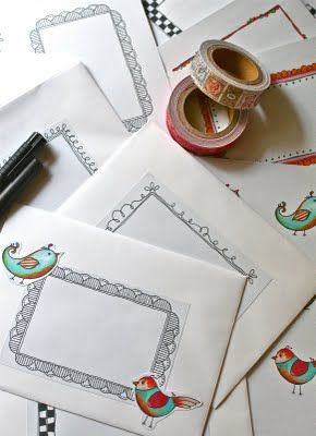 doodled envelopes for cards - doodle on labels any time, then they're ready fir mailing when I need them! LOVE!
