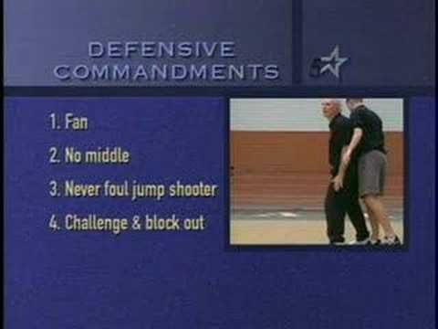 ▶ 5 Commandments of Basketball Defense 1) 2) Chase everything to the midpoint 3) No Middle 4) Never foul a jump shot 5) Challenge & Block out YOU CAN'T WIN AT ANY LEVEL IF YOU DONT REBOUND. You can't score if you don't have the ball.