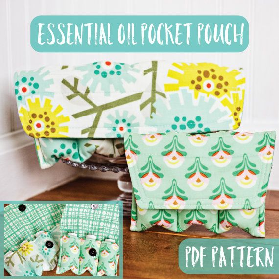 Essential oil bag PDF PATTERN / TUTORIAL Essential Oil Pocket Pouch ~ Padded storage for your essential oils! Your pattern will be