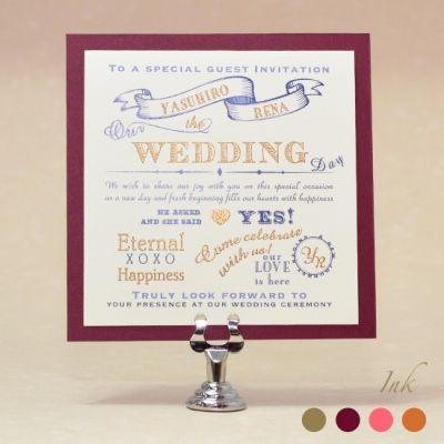 Happy Wordがちりばめられた胸躍るヴィンテージデザインの招待状。 ワインレッドのベースカラーで大人シックに仕上げて。招待状セットI DO レッドA 10枚 招待状・席次表をわたしたちらしく - PLUSH for Wedding(プラッシュフォーウエディング)