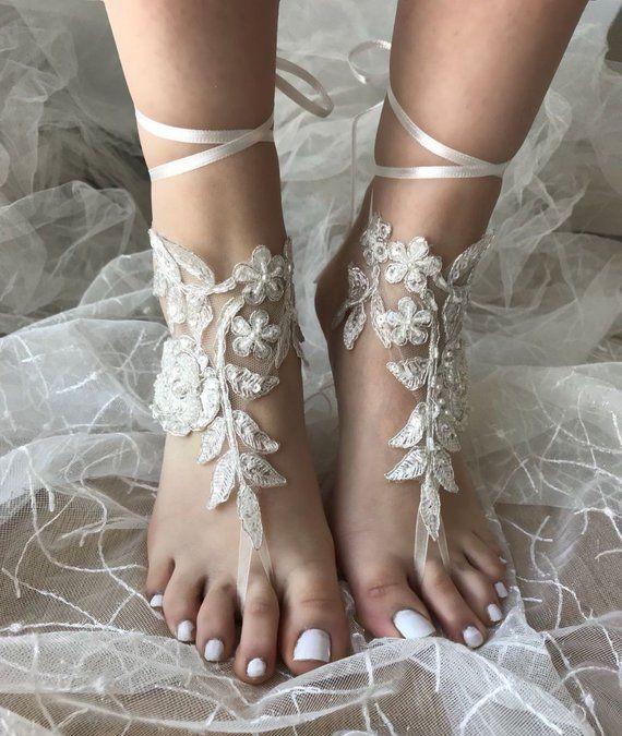 30c823632 Beach wedding Barefoot Sandals Ivory Barefoot sandals