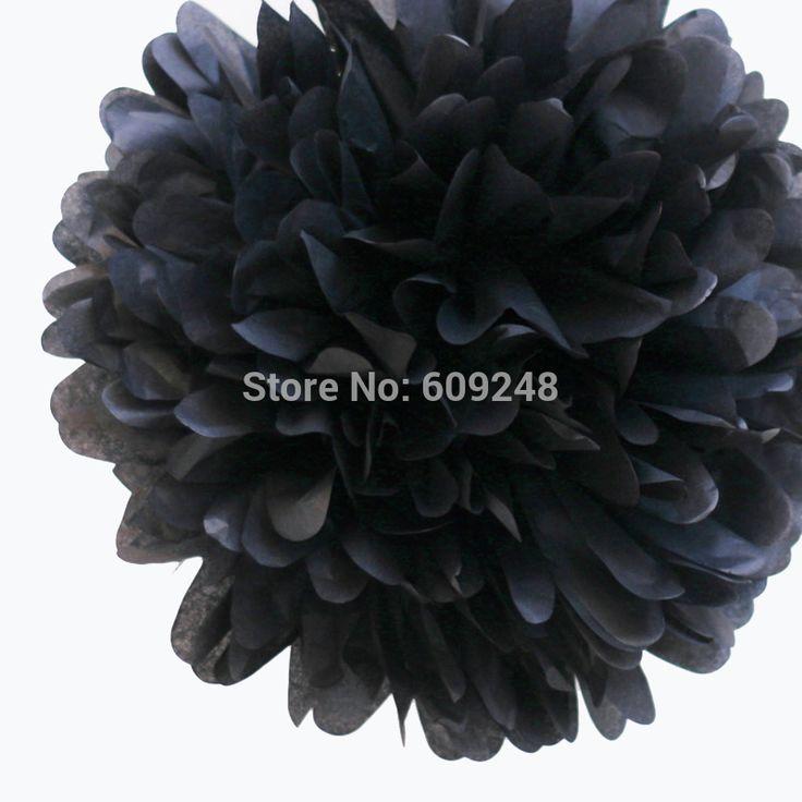 """10 stuks 8""""( 20cm) halloween vakantie verjaardag feest decoraties zwarte vloeipapier pom poms ambachtelijke in Decoratieve Bloemen & Kransen van Huis & Tuin op Aliexpress.com"""
