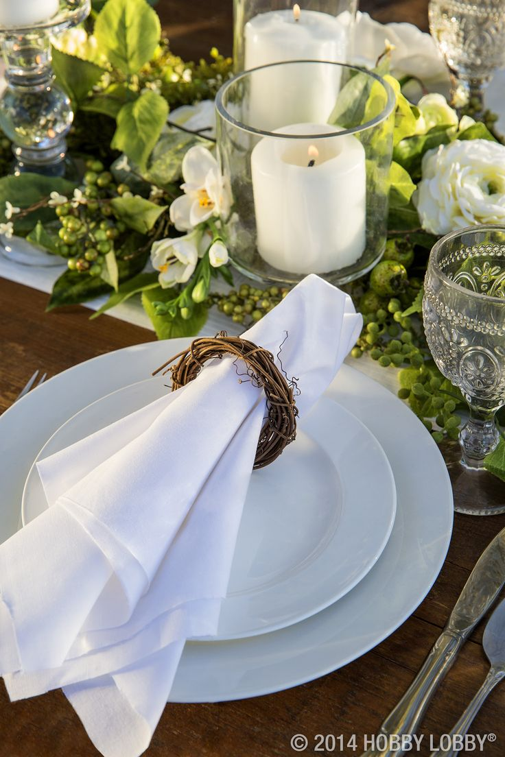 Try incorporating earthy greens and crisp whites for a simple yet elegant table setting.