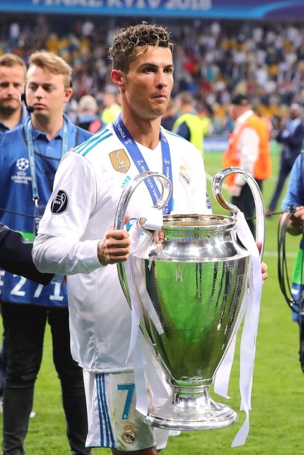 Kiev Ukraine May 26 Cristiano Ronaldo Of Real Madrid Holds The