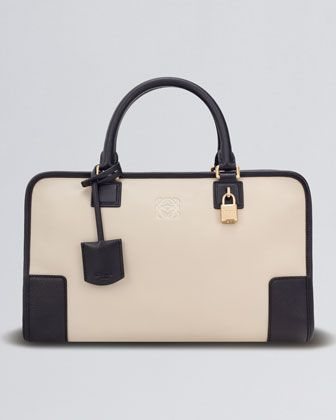 Amazona+Leather+Bag,+Stone/Black+by+Loewe+at+Bergdorf+Goodman.
