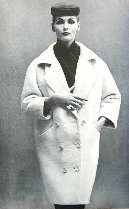 Georgia Hamilton in coat by Balenciaga, photo by Richard Avedon, Harper's Bazaar, Sept. 1953