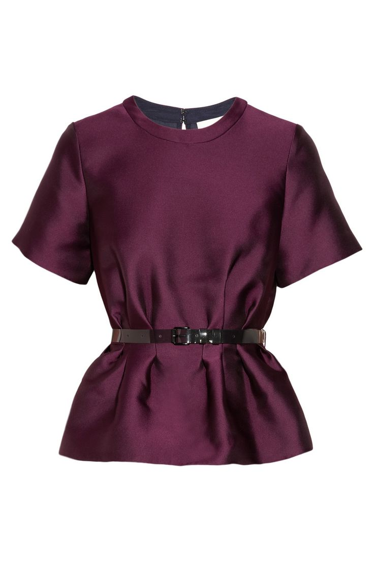 Belted satin-twill peplum top in deep jewel tone. A staple for Fall and into the Winter holidays!