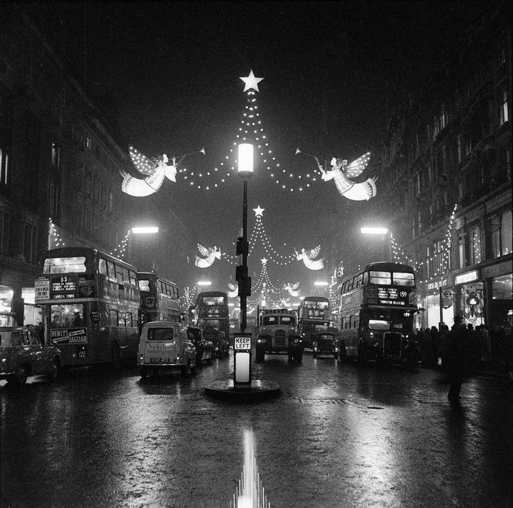 1960. The Regent Street Christmas lights at night.