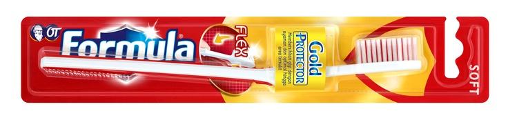 Sikat Gigi Gold Protector Flex membersihkan gigi dan nyaman di gusi dengan bulu aksi ganda.Batang fleksibel mencegah tekanan berlebih saat menyikat gigi.