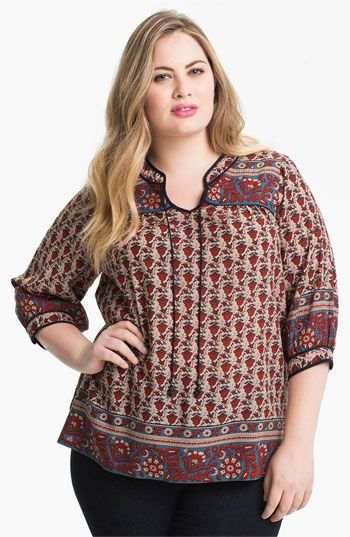 Lucky Brand Print Peasant Top (Plus) available at Nordstrom