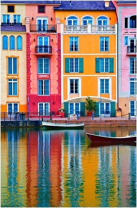 Beautiful Bright ColorsWater, Orlando Florida, Portofino, Venice Italy, House, Places, Italy Travel, Painting, Bright Colors