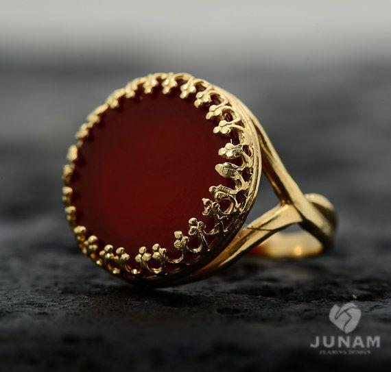 Cornalina anillo rojo oro 18k plateó  banda de por JunamJewelry