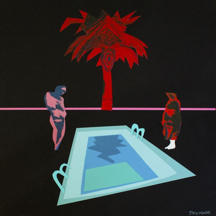 Andy's Pool Party - Narcissus (After Warhol), Papercut collage, 20 x 20 inches matted and framed, 2016 AVAILABLE #art #arte #artists #artwork #finart #popart #collage #tiko #kerr #tikokerr