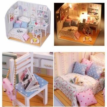 Diy casa de bonecas em miniatura de madeira com LED Mobiliário de cobertura quarto casa de boneca Sale - Banggood Móvel