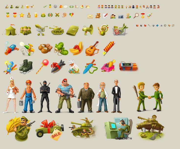 Иконки и миниатюры для игры Banana Wars (Рисунки и иллюстрации) - фри-лансер Алексей Крапивин [3DZ].