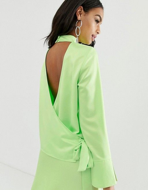 1d0c757a914e0a ASOS DESIGN long sleeve neon top with wrap back detail in satin two-piece