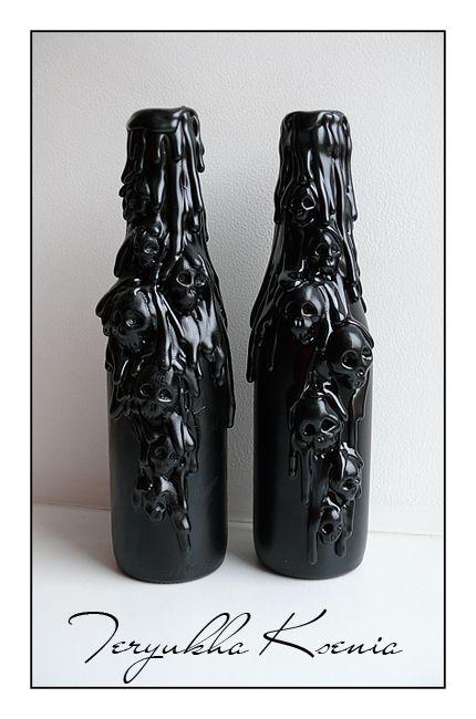 skull bottles Glue on plastic skulls ... hot glue to drip down sides ... paint black