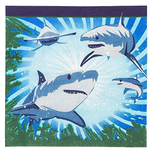 Shark Party Luncheon Napkins 16 Pack ** You can find more details by visiting the image link.