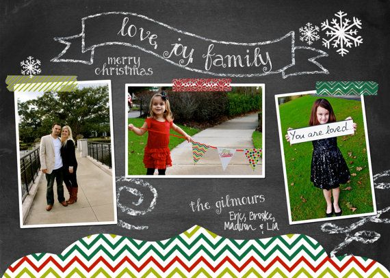 Chalkboard & Chevron Christmas Photo Card - 3 pictures