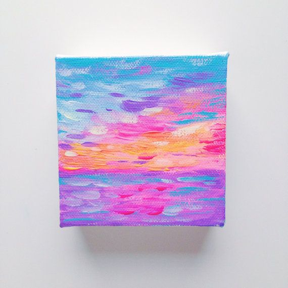 "Hawaiian Neon Sunset - Original Mini 3""x3"" Acrylic Painting on Wrapped Canvas - by Hello Monday Design - $20.00 | Tropical Sunset | Tropical Vibes | Boho chic | Bohemian | Beachy | Beach Art"