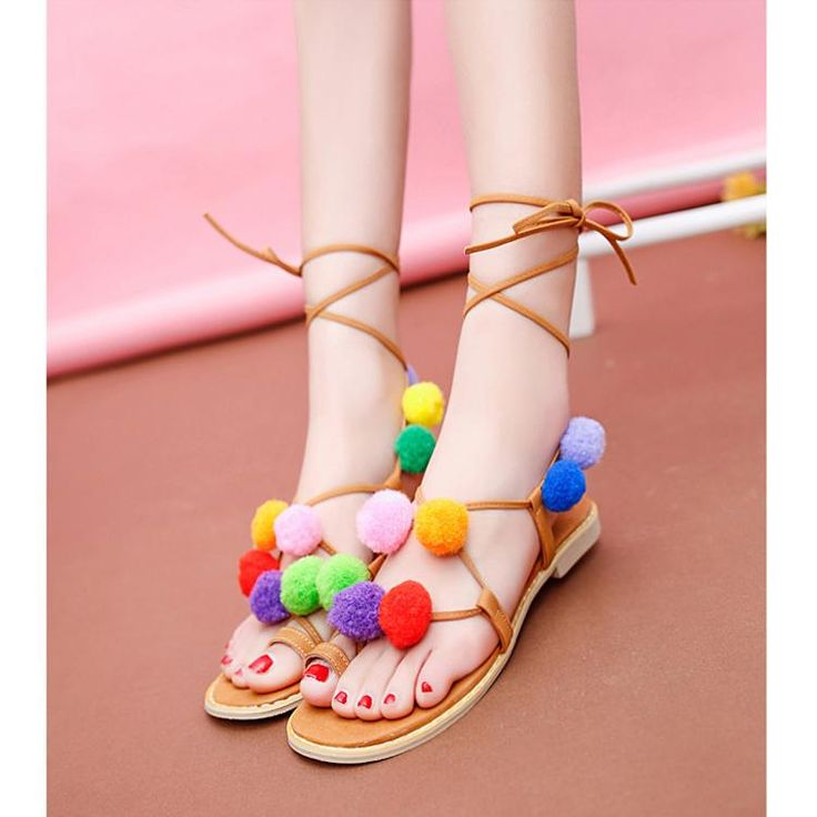 Cheap Sweet Colorful Bobble Pompon Lace Up Strappy Clip Flat Sandals for Sale - Chicuu.com