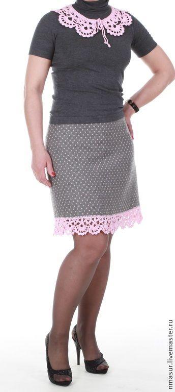 """Купить Шерстяная юбочка """"Розовые кружева"""" - серый, в горошек, юбка, юбка до колен, горошек"""