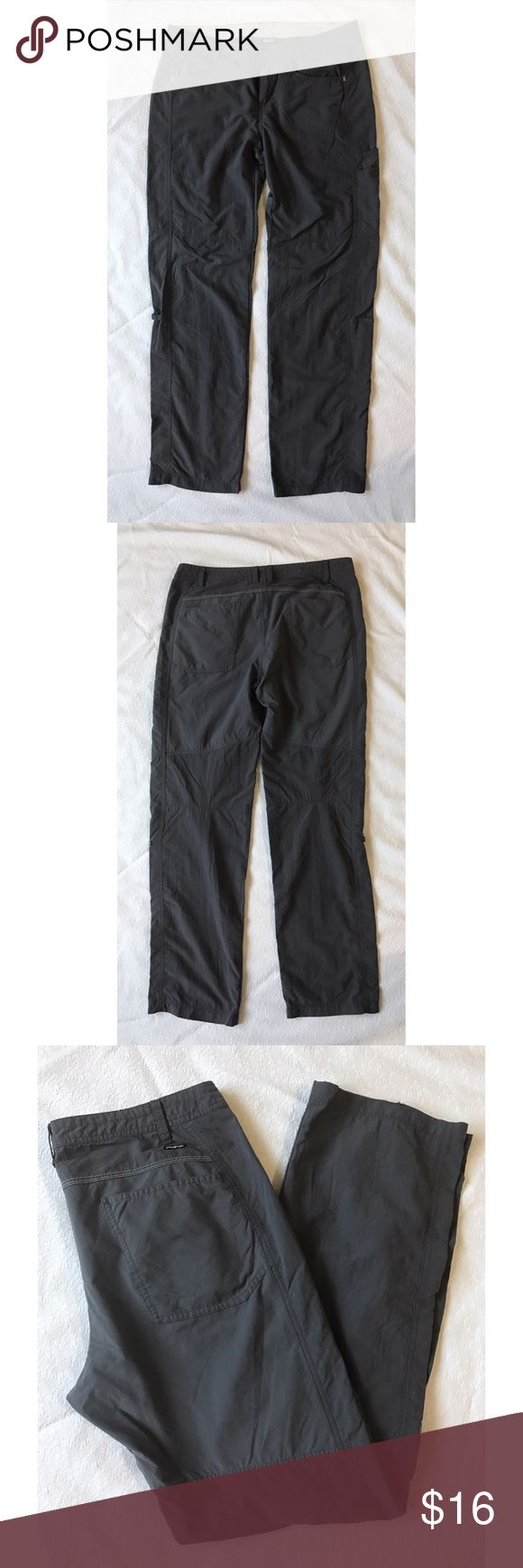 "Patagonia Gray Athletic Hiking Pants Women's 10 Patagonia Gray Athletic Hiking Pants Women's size 10. Pre-owned, does have a bit of a tear on bottom hem of leg (please see picture), but other than that, they are in very good condition. Measurements laying flat: waist 16.5"", rise 9.5"", inseam 35"" Patagonia Pants Straight Leg"