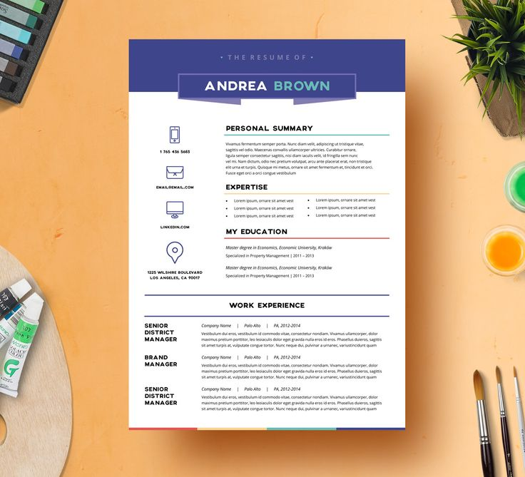 Creative resume template by resumeangels microsoft word for Creative interior design resume