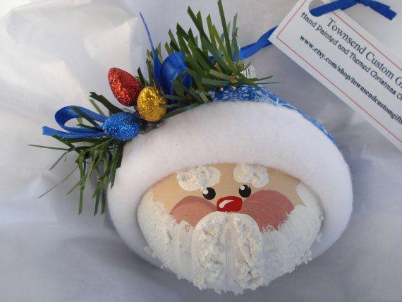 Ornament #Santa Hand Painted Glass #Christmas Tree #Ornament - Themed with three Christmas light bulbs $14.95