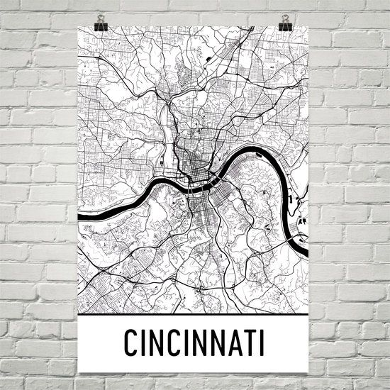 Cincinnati Map Art Print, Cincinnati OH Art Poster, Cincinnati Wall Art, Map of Cincinnati, Gift, Print, Birthday, Decor, Modern, Art