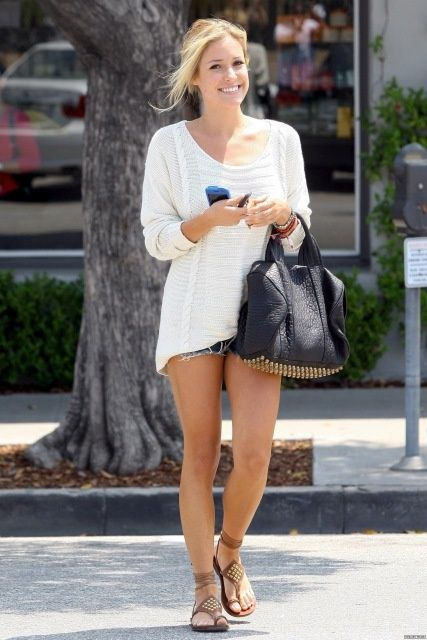 Sweater: Kimberly Ovitz Tinsley Ripped Sweater Bag: Alexander Wang Shoes: Kettle Black Studded Sandals