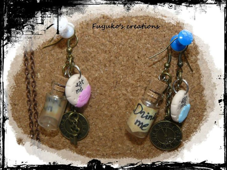 "earring "" Alice in Wonderland"" -polymer clay-"