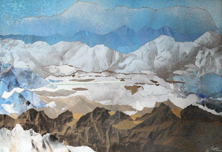 Paysage alpin aquarelle sur papier kraft 50 x 70 cm