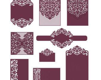 Tarjeta de plantillas de invitación de boda del corte del laser / sobres / vientre banda / RSVP / cuatro doble tarjeta. Configurar archivos SVG corte Silhouette Cameo, Cricut