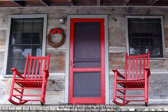 Porch Decorating With Red Jazz Rocking Chairs And Colors