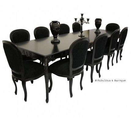 Versailles 10ft Dining Table & 10 Chairs - Black French Ornate Modern Baroque & Rococo Furniture www.fabulousandbaroque.com