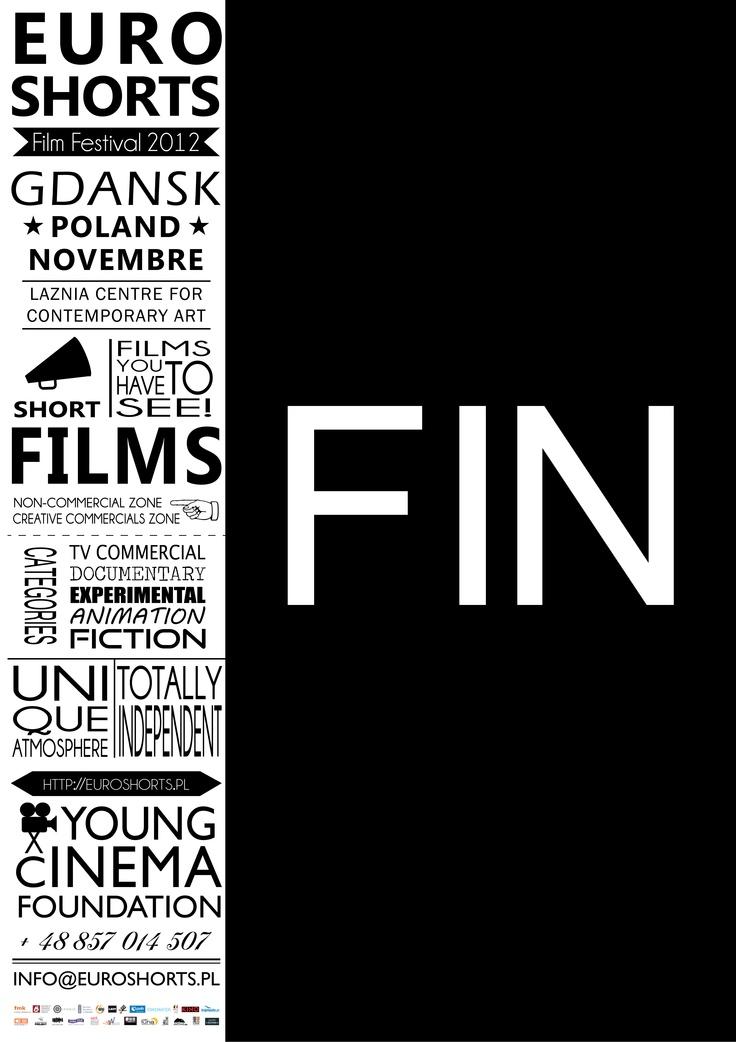 Euroshort poszter  - rövid film fesztivál  - alacsony budgével  -B1 méret  Egy rövidfilm maximum 30 eprces lehet, ami egyharmada egy 'normál' filmnek, ezért csak a papír egyharmadát használtam,   valamint a kevés pént miatt csak fekete színnel dolgoztam.