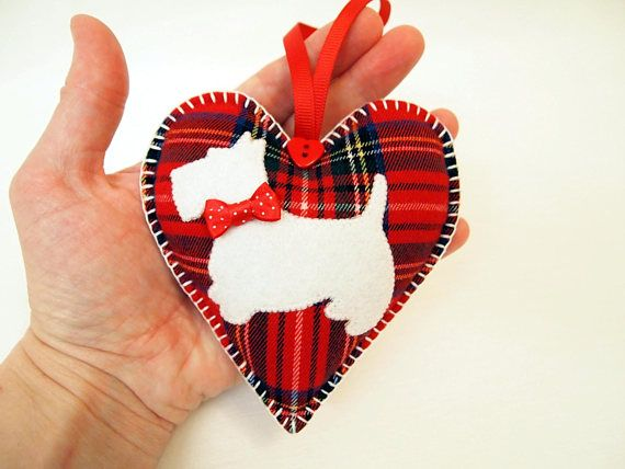 Scottie Heart . Red Stewart Tartan. Christmas ornament.