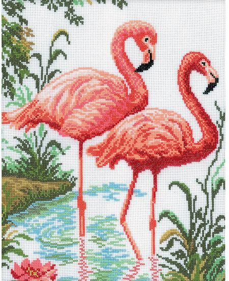 RTO Flamingos - Cross Stitch Kit. Cross Stitch Kit featuring a pair of flamingos. This Cross Stitch Kit comes complete with 14 Count Zweigart Aida, pre-sorted D