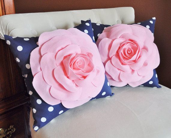 Navy And Pink Decorative Pillows: SET OF TWO Decorative Rose Pillows -Light Pink Roses On