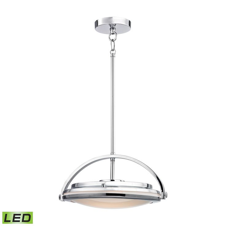 Quincy 1 Light LED Pendant In Chrome And Paint White Glass - Includes Recessed Lighting Kit