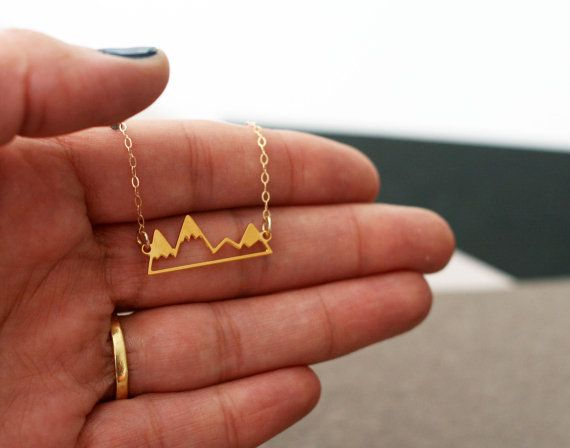 little golden mountain range necklace gold by WildThingStudio
