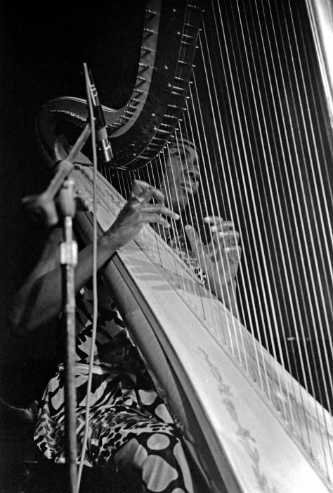 Alice Coltrane and her harp. Alice was a talented multi-instrumentalist and composer. And the wife of John Coltrane.