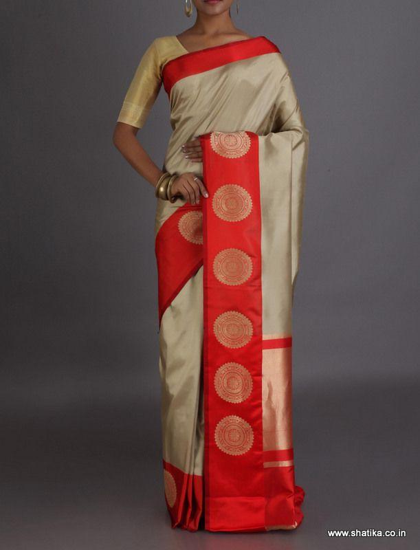 Riya Chakras On Broad Border Real Zari Pure #BanarasiKataanSilkSaree