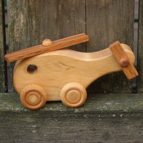 Kids Wooden Toy Helicopter - Kids Handmade Natural Wood Toy. $8.00, via Etsy.