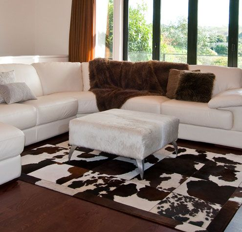 Gorgeous Creatures Square Off White Cowhide Coffee Table Ottoman.
