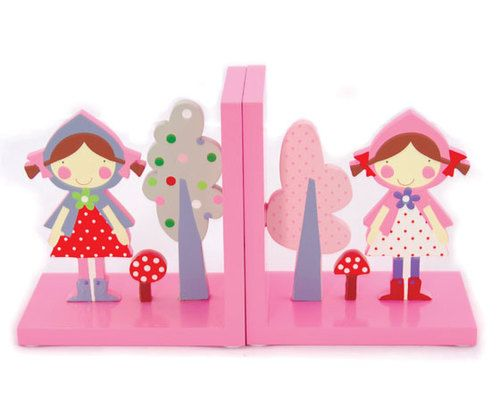 Red Riding Hood Bookends These beautiful Little Red Riding Hood Bookends are each individually hand decorated in non toxic paints.  A brilliant addition to any child's bookshelf they look fabulous with our matching calender, and if you're looking to complete the theme, our Red Riding Hood wall decal adds a bright touch to a plain wall  Each bookend measures approximately16cm x 14.5cm x 9cm cm Age: 3+